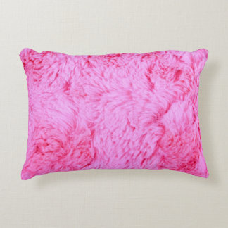 Pink Faux Fur Decorative Pillow
