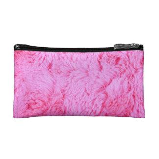 Pink Faux Fur Makeup Bag