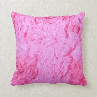 Pink Faux Fur Throw Pillow