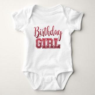 Pink Faux Glitter Birthday Girl Text Baby Bodysuit