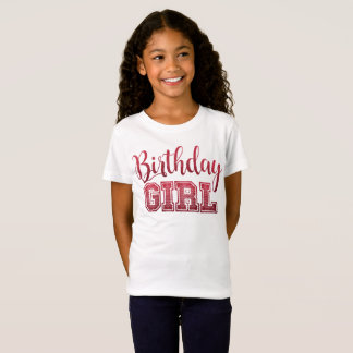 Pink Faux Glitter Birthday Girl Text T-Shirt