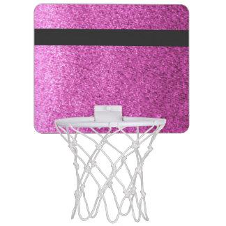 Pink Faux Glitter Black Band Mini Basketball Hoop
