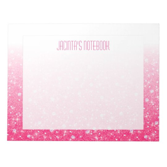 Pink Faux Glitter For Women's And Teen Tween Girls Notepad