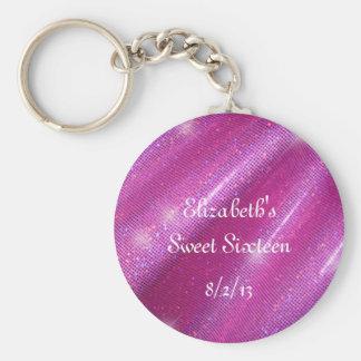 Pink, Faux Glitter, Sweet Sixteen Favor Keychain