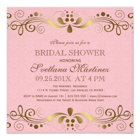 Pink & Faux Gold Floral Lace Bridal Shower Invite