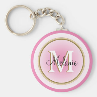 Pink Faux Gold Your Name and Initial Basic Round Button Keychain