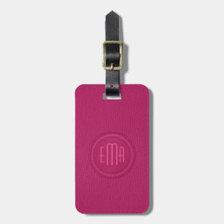 Pink Faux Leather Look Monogram Luggage Tag