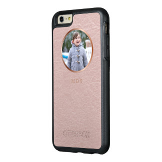 Pink Faux Leather Photo Upload Monogram OtterBox iPhone 6/6s Plus Case