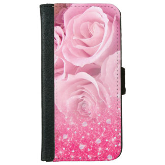 Pink Faux Sparkly Glitter Rose For Women And Girls iPhone 6 Wallet Case