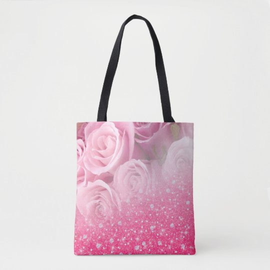 Pink Faux Sparkly Glitter Rose For Women And Girls Tote Bag