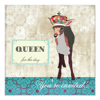 "Pink Fawn Queen for the Day Teal & White Invitatio 5.25"" Square Invitation Card"