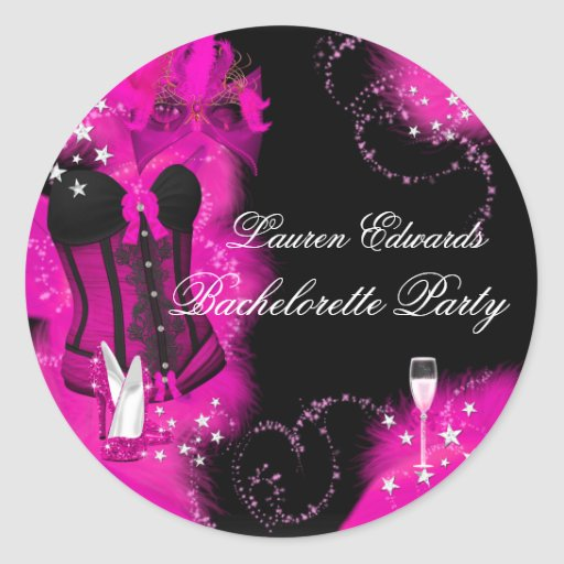 Pink Feather Corset Bachelorette Party Sticker