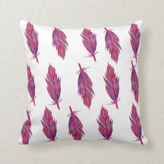 Pink Feathers Watercolor Throw Cushion