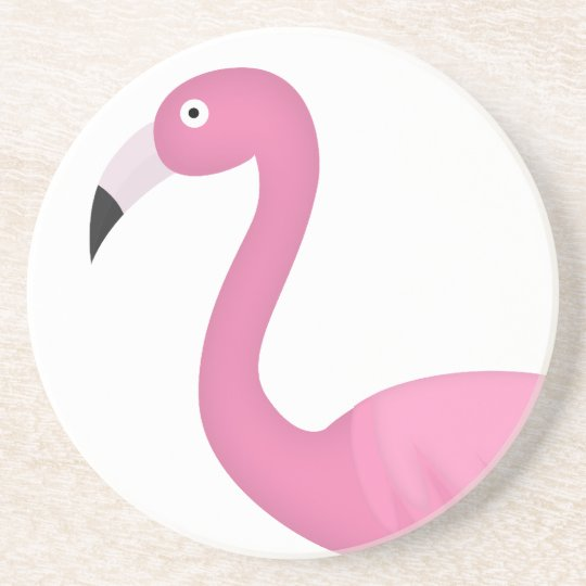 pink feathery flamingo coaster