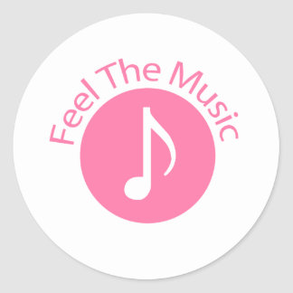 Pink - Feel the Music Classic Round Sticker