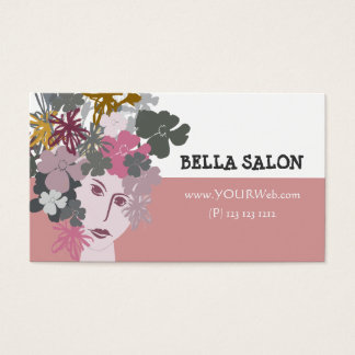 Pink Feminine Beauty Blooming Hair Piece Business Card