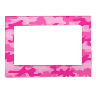 Pink Feminine Camo Camouflage Girls Picture Frame Magnet