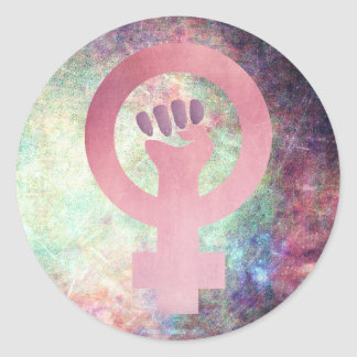 Pink Feminist Symbol on Multi-colour Grunge Classic Round Sticker