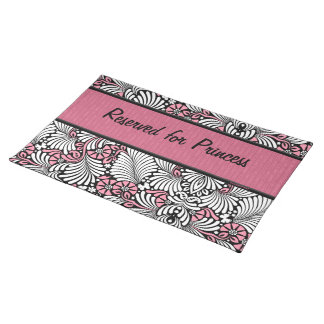 Pink Fern Cat Personalized for Pet Placemat