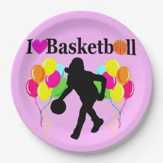 PINK FESTIVE I LOVE BASKETBALL DESIGN PAPER PLATE