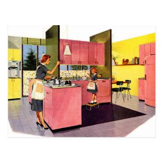 Pink Fifties Futuristic Kitchen Postcard