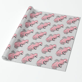Pink Fifties Pedal Car Wrapping Paper