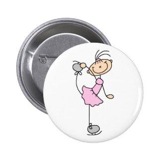 Pink Figure Skater Button