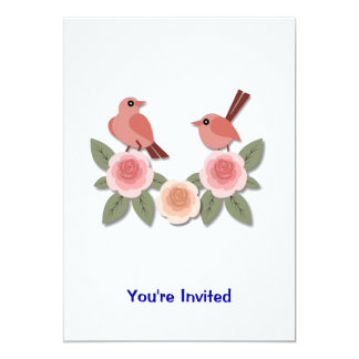 Pink Finches on Pink Peonies Card