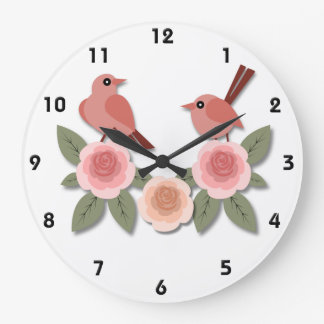 Pink Finches on Pink Peonies Large Clock