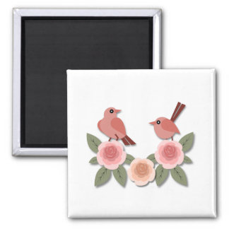 Pink Finches on Pink Peonies Square Magnet