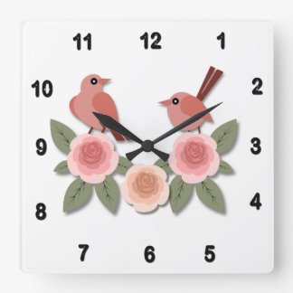 Pink Finches on Pink Peonies Square Wall Clock