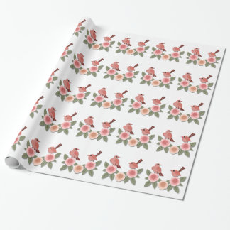 Pink Finches on Pink Peonies Wrapping Paper