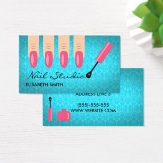 Pink Finger Nails On Blue Nail Studio Business Card