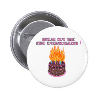 Pink Fire Extinguishers Birthday Cake Pin