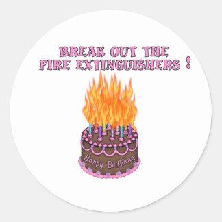 Pink Fire Extinguishers Birthday Cake Round Sticker