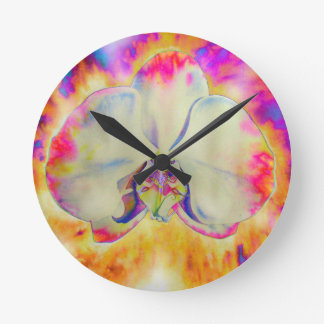 Pink Fire Orchid Wall Clocks