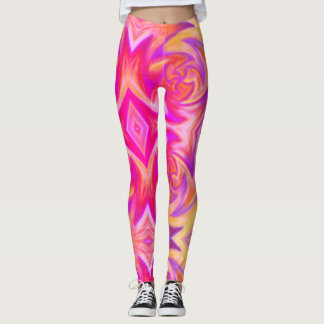 pink fire print leggings