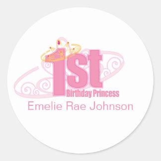 pink first BIRTHDAY PRINCESS party sticker