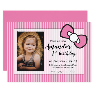Pink First birthday, stripes, bow, personalised Card