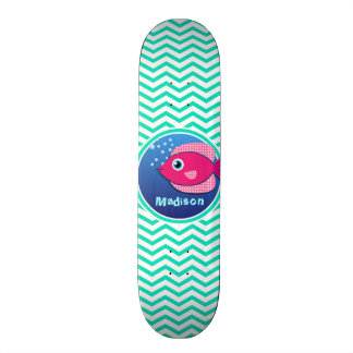 Pink Fish; Aqua Green Chevron Skate Deck