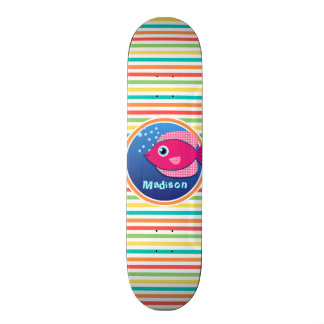 Pink Fish; Bright Rainbow Stripes Custom Skate Board
