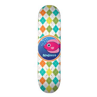 Pink Fish on Colorful Argyle Pattern Skate Deck