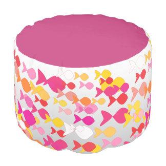 Pink Fish Silhouette Pattern Stylish Modern Girly Pouf