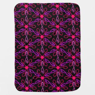 Pink Fishhooks and Purple Fish Pattern Baby Blanket