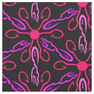 Pink Fishhooks and Purple Fish Pattern Fabric