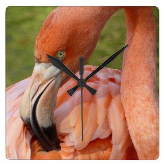 Pink Flamingo 02.2 Square Wall Clock