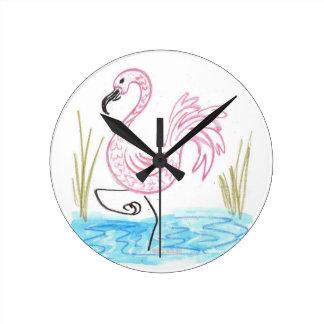 Pink Flamingo #13 by EelKat Wendy C Allen Wallclock