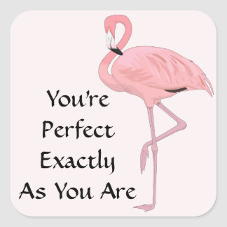 Pink Flamingo Acceptance Affirmation Square Sticker