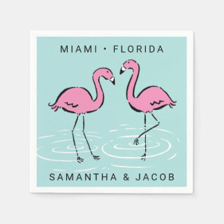 Pink Flamingo Add Names and Location Paper Napkin