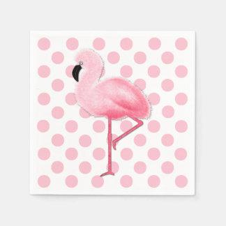 Pink Flamingo and Polka Dot Napkins Paper Napkins